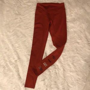 PINK, Fleece Lined Burnt Orange Leggings, NWOT XS